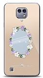 LG X cam Çiçekli Aynalı Taşlı Kılıf