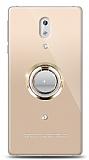 Nokia 3 Gold Tutuculu Taşlı Şeffaf Kılıf