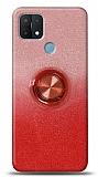 Oppo A15 Simli Yüzüklü Kırmızı Silikon Kılıf