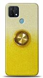 Oppo A15 Simli Yüzüklü Sarı Silikon Kılıf