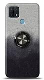 Oppo A15 Simli Yüzüklü Siyah Silikon Kılıf