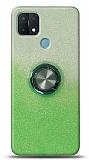 Oppo A15 Simli Yüzüklü Yeşil Silikon Kılıf