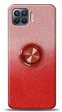 Oppo Reno4 Lite Simli Yüzüklü Kırmızı Silikon Kılıf