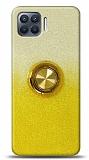 Oppo Reno4 Lite Simli Yüzüklü Sarı Silikon Kılıf