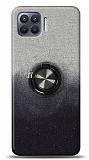 Oppo Reno4 Lite Simli Yüzüklü Siyah Silikon Kılıf