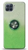 Oppo Reno4 Lite Simli Yüzüklü Yeşil Silikon Kılıf