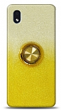 Samsung Galaxy A01 Core Simli Yüzüklü Sarı Silikon Kılıf