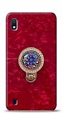 Samsung Galaxy A10 Mozaik Yüzüklü Kırmızı Silikon Kılıf