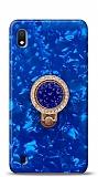 Samsung Galaxy A10 Mozaik Yüzüklü Mavi Silikon Kılıf