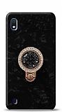 Samsung Galaxy A10 Mozaik Yüzüklü Siyah Silikon Kılıf