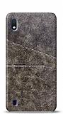 Samsung Galaxy A10 Silikon Kenarlı Kartlıklı Kahverengi Deri Kılıf