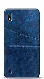 Samsung Galaxy A10 Silikon Kenarlı Kartlıklı Lacivert Deri Kılıf