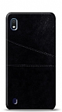 Samsung Galaxy A10 Silikon Kenarlı Kartlıklı Siyah Deri Kılıf