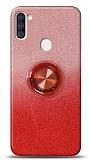Samsung Galaxy A11 / Galaxy M11 Simli Yüzüklü Kırmızı Silikon Kılıf