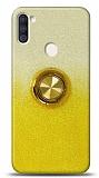 Samsung Galaxy A11 / Galaxy M11 Simli Yüzüklü Sarı Silikon Kılıf