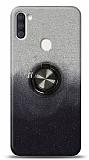 Samsung Galaxy A11 / Galaxy M11 Simli Yüzüklü Siyah Silikon Kılıf