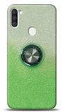 Samsung Galaxy A11 / Galaxy M11 Simli Yüzüklü Yeşil Silikon Kılıf