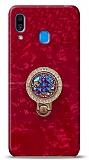 Samsung Galaxy A20 / A30 Mozaik Yüzüklü Kırmızı Silikon Kılıf