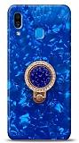 Samsung Galaxy A20 / A30 Mozaik Yüzüklü Mavi Silikon Kılıf