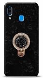 Samsung Galaxy A20 / A30 Mozaik Yüzüklü Siyah Silikon Kılıf