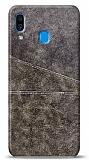 Samsung Galaxy A20 / A30 Silikon Kenarlı Kartlıklı Kahverengi Deri Kılıf