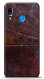 Samsung Galaxy A20 / A30 Silikon Kenarlı Kartlıklı Kızıl Kahve Deri Kılıf