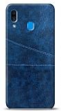 Samsung Galaxy A20 / A30 Silikon Kenarlı Kartlıklı Lacivert Deri Kılıf