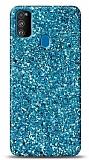 Samsung Galaxy A21s Pullu Mavi Silikon Kılıf