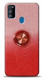 Samsung Galaxy A21s Simli Yüzüklü Kırmızı Silikon Kılıf