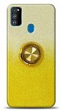 Samsung Galaxy A21s Simli Yüzüklü Sarı Silikon Kılıf