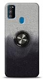Samsung Galaxy A21s Simli Yüzüklü Siyah Silikon Kılıf