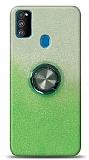 Samsung Galaxy A21s Simli Yüzüklü Yeşil Silikon Kılıf