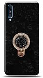 Samsung Galaxy A30s Mozaik Yüzüklü Siyah Silikon Kılıf