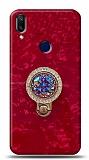 Samsung Galaxy A40 Mozaik Yüzüklü Kırmızı Silikon Kılıf