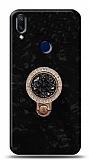 Samsung Galaxy A40 Mozaik Yüzüklü Siyah Silikon Kılıf