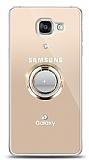 Samsung Galaxy A5 2016 Gold Tutuculu Taşlı Şeffaf Kılıf