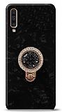 Samsung Galaxy A50 Mozaik Yüzüklü Siyah Silikon Kılıf