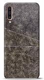 Samsung Galaxy A50 Silikon Kenarlı Kartlıklı Kahverengi Deri Kılıf