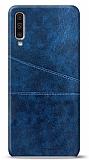 Samsung Galaxy A50 Silikon Kenarlı Kartlıklı Lacivert Deri Kılıf