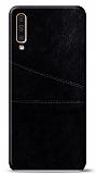 Samsung Galaxy A50 Silikon Kenarlı Kartlıklı Siyah Deri Kılıf