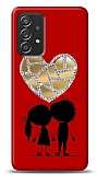 Samsung Galaxy A52 Couple Love Taşlı Aynalı Resimli Kılıf
