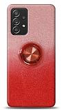 Samsung Galaxy A52 Simli Yüzüklü Kırmızı Silikon Kılıf