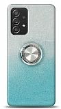 Samsung Galaxy A52 Simli Yüzüklü Mavi Silikon Kılıf