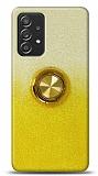 Samsung Galaxy A52 Simli Yüzüklü Sarı Silikon Kılıf