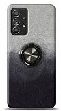 Samsung Galaxy A52 Simli Yüzüklü Siyah Silikon Kılıf