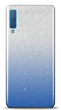 Samsung Galaxy A7 2018 Simli Mavi Silikon Kılıf
