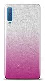 Samsung Galaxy A7 2018 Simli Pembe Silikon Kılıf