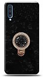 Samsung Galaxy A70 Mozaik Yüzüklü Siyah Silikon Kılıf
