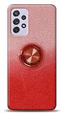Samsung Galaxy A72 Simli Yüzüklü Kırmızı Silikon Kılıf