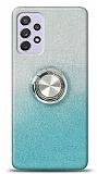 Samsung Galaxy A72 Simli Yüzüklü Mavi Silikon Kılıf